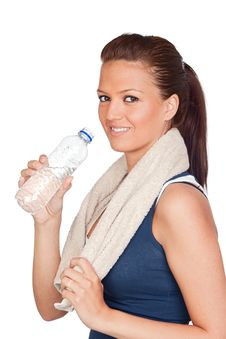 Gymnastics Girl With A Towel And Water Stock Images