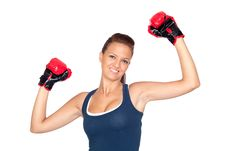 Attractive Girl Practicing Boxing Stock Photos
