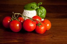 Ricotta  With Basil And Tomatoes Royalty Free Stock Photo