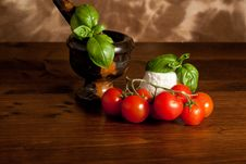 Ricotta  With Basil And Tomatoes Stock Images