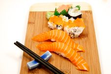 Sushi On A Babmoo Board Royalty Free Stock Images