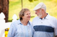Happy Senior Couple In The Park Royalty Free Stock Image