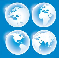 Free Blue Glossy Globes Royalty Free Stock Photo - 14148345