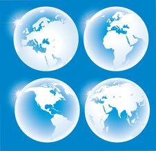 Free Blue Glossy Globes Royalty Free Stock Photo - 14148345
