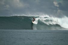 Surfer On Wave, Mentawai Islands, Indonesia Royalty Free Stock Images