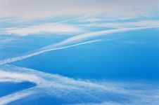 Free Blue Sky With Condension Trail Of An Aircraft Stock Image - 14149381