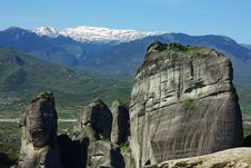 The Majestic Cliffs Of Meteora. Greece. Royalty Free Stock Images