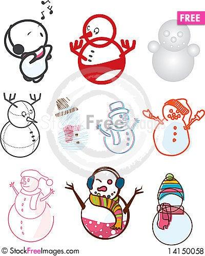 Free Cute Snowman Royalty Free Stock Photos - 14150058