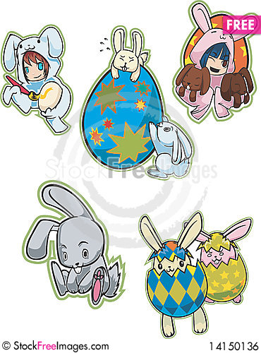 Free Easter Eggs & Bunnies Royalty Free Stock Image - 14150136