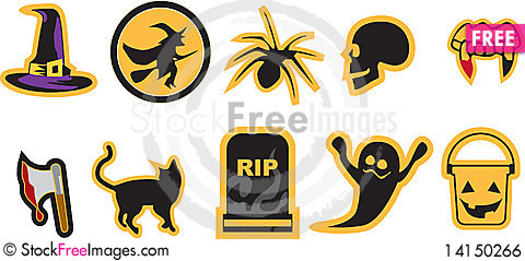 Free Unique Halloween Icons Royalty Free Stock Image - 14150266