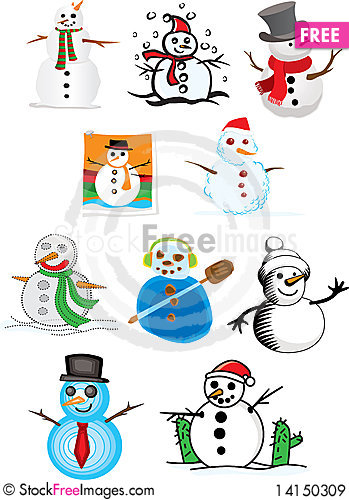 Free Various Illustrations Of Snowman Royalty Free Stock Images - 14150309