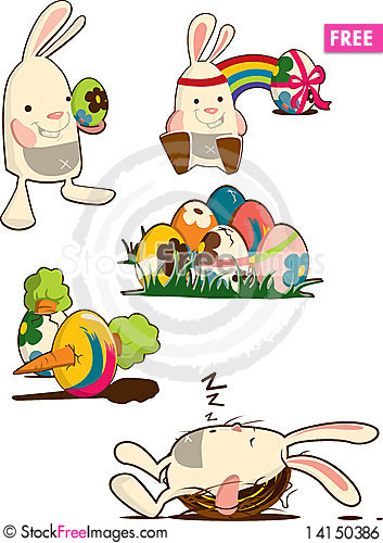 Free Easter Bunny & Eggs Royalty Free Stock Image - 14150386