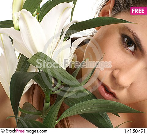 Free Portrait Of A Young Female With A White Flower Stock Image - 14150491