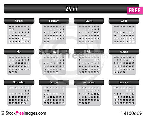 Free 2011 Calendar Royalty Free Stock Images - 14150669