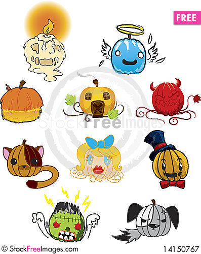 Free Scary Pumpkin Heads Royalty Free Stock Photography - 14150767