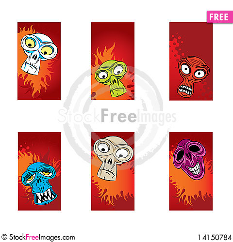 Free Color Monsters Heads Cards Stock Images - 14150784
