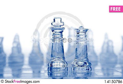 Free Glass Chess Pieces With Blue Light Royalty Free Stock Image - 14150786