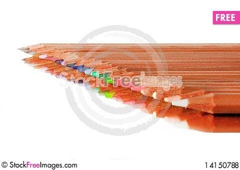 Free Pencil Row On White Background Royalty Free Stock Photos - 14150788