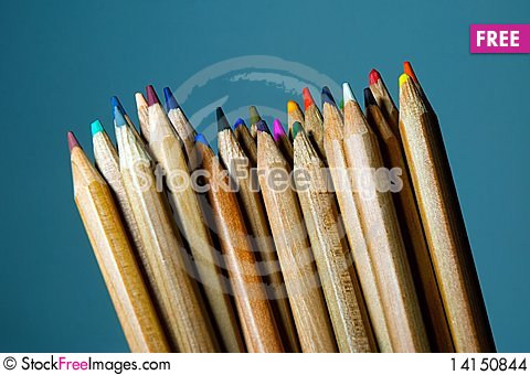 Free Disordered Pencils With Blue Background. Stock Images - 14150844