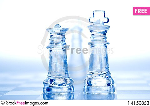 Free Glass Chess Pieces With Blue Light Stock Photos - 14150863