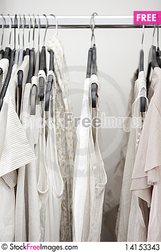 Free White Cotton Ladies Tops On Rail Stock Photos - 14153343