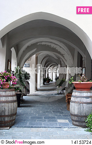 Free Empty Colonnade In A Small Italian Village Stock Images - 14153724