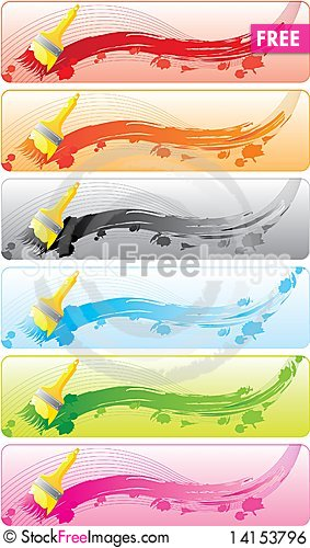 Free Banner Set With Brashes Royalty Free Stock Image - 14153796