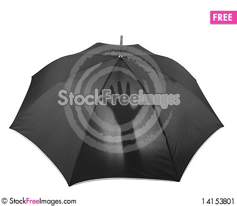 Free Umbrella With Hand Silhouette Stock Image - 14153801