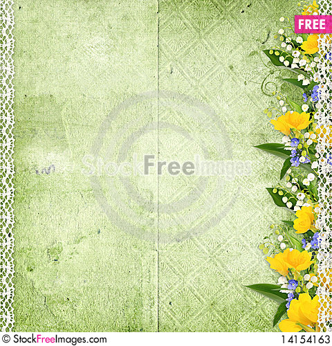 Free Green Background With Spring Flowers Stock Photos - 14154163