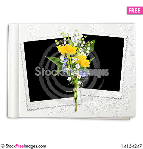 Free Album With Frame And Spring Flowers Royalty Free Stock Photography - 14154247