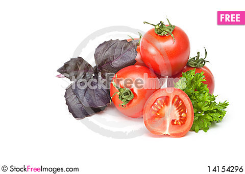 Free Tomato With Parsley And Basil Royalty Free Stock Image - 14154296