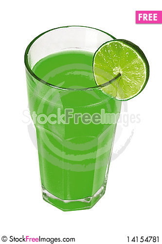 Free Green Juice With Slice Of Lime Stock Image - 14154781
