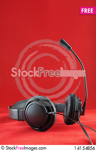 Free Headphone On Red Royalty Free Stock Image - 14154856