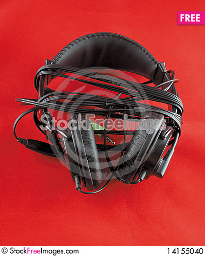 Free Headphone On Red Stock Photo - 14155040