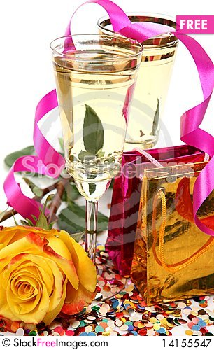 Free Wine And Rose Royalty Free Stock Photography - 14155547
