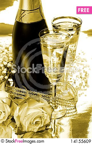 Free Champagne And Rose Royalty Free Stock Images - 14155609