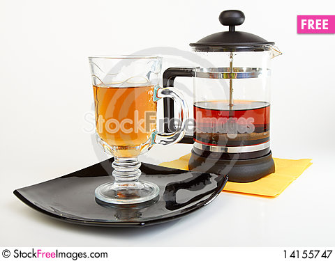 Free Сup Of Tea On Black Plate With Teapot Royalty Free Stock Photography - 14155747