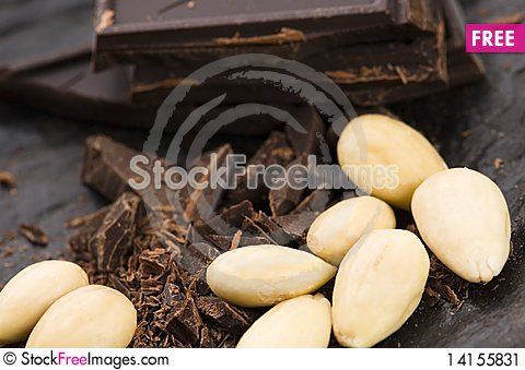 Free Chopped Chocolate With Sweet Almonds Stock Image - 14155831