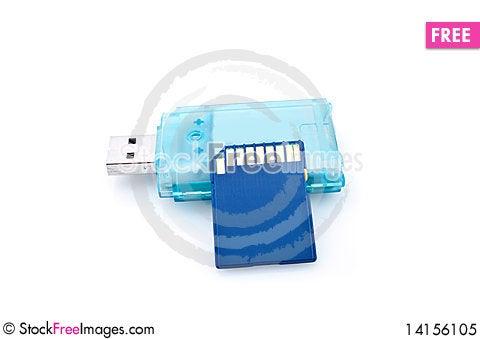Free Card Reader And Memory Card Royalty Free Stock Photo - 14156105