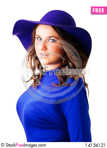 Free Elegant Woman In Hat Over White Background Stock Image - 14156121