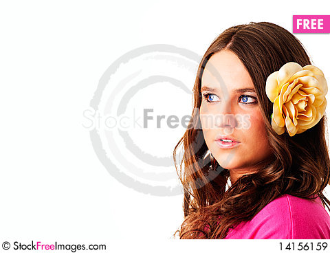 Free Girl With Flower In Hair Looking Right Royalty Free Stock Images - 14156159