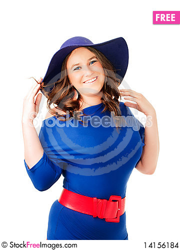 Free Happy Woman In Hat Over White Stock Images - 14156184