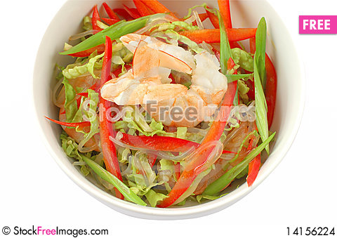 Free Salad With Shrimps Stock Images - 14156224