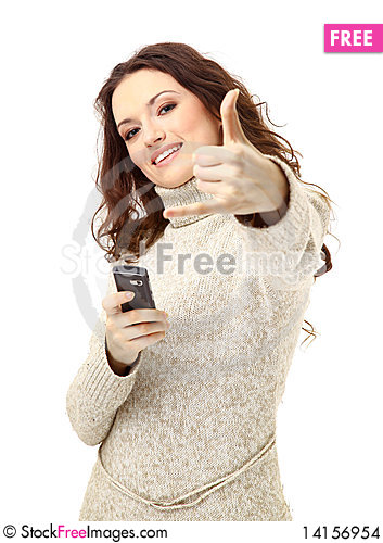 Free Woman On Phone Isolated Stock Images - 14156954