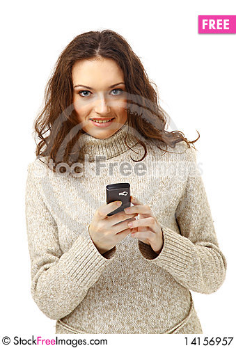 Free Woman On Phone Isolated Royalty Free Stock Photography - 14156957