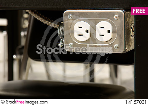 Free Electrical Outlet Under Tabletop Stock Image - 14157031