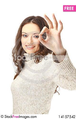 Free Beautiful Young Woman Indicating Ok Stock Photography - 14157542