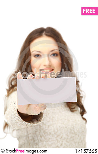 Free Young Woman Holding An Empty Royalty Free Stock Photo - 14157565