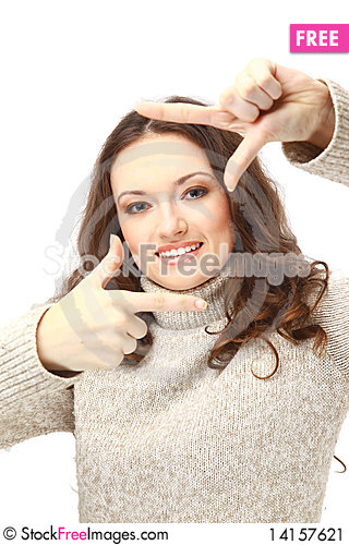Free Young Woman Creating A Frame With Her Fingers Stock Image - 14157621
