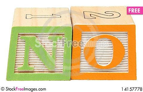 Free NO In Alphabet Blocks Royalty Free Stock Photos - 14157778